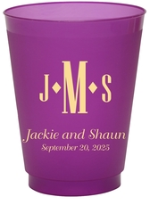 Condensed Monogram with Text Colored Shatterproof Cups