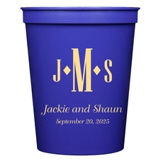 Condensed Monogram with Text Stadium Cups