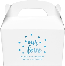 Confetti Dots Our Love Gable Favor Boxes