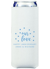 Confetti Dots Our Love Collapsible Slim Koozies