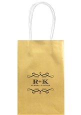 Courtyard Scroll with Initials Medium Twisted Handled Bags