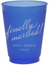 Expressive Script Finally Married Colored Shatterproof Cups