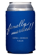 Expressive Script Finally Married Collapsible Koozies
