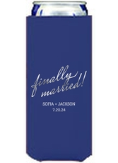Expressive Script Finally Married Collapsible Slim Koozies