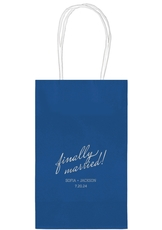 Expressive Script Finally Married Medium Twisted Handled Bags