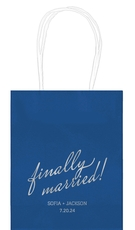Expressive Script Finally Married Mini Twisted Handled Bags