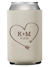Heart Made of Arrow Collapsible Koozies