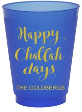 Happy Challah Days Colored Shatterproof Cups