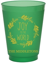 Joy to the World Wreath Colored Shatterproof Cups