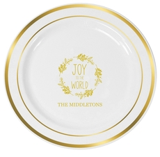 Joy to the World Wreath Premium Banded Plastic Plates