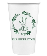 Joy to the World Wreath Paper Coffee Cups