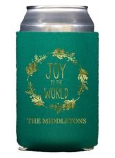 Joy to the World Wreath Collapsible Koozies