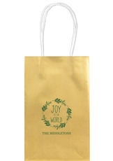 Joy to the World Wreath Medium Twisted Handled Bags