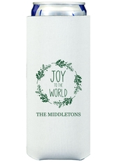 Joy to the World Wreath Collapsible Slim Koozies