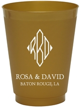 Shaped Diamond Monogram with Text Colored Shatterproof Cups