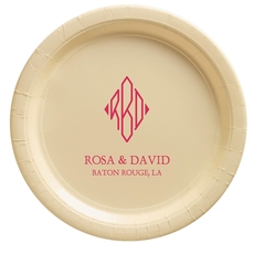 Shaped Diamond Monogram with Text Paper Plates