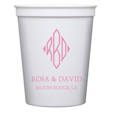 Shaped Diamond Monogram with Text Stadium Cups