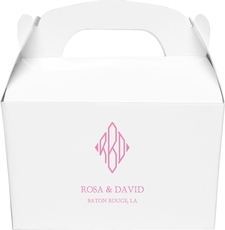 Shaped Diamond Monogram with Text Gable Favor Boxes
