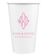 Shaped Diamond Monogram with Text Paper Coffee Cups