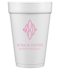 Shaped Diamond Monogram with Text Styrofoam Cups