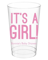 Bold It's A Girl Clear Plastic Cups
