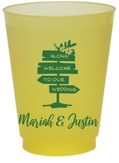 Aloha Welcome To Our Wedding Colored Shatterproof Cups