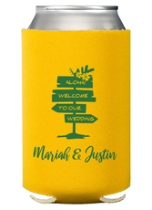 Aloha Welcome To Our Wedding Collapsible Koozies