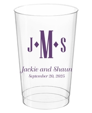 Condensed Monogram with Text Clear Plastic Cups