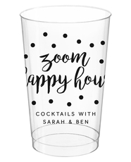 Confetti Dot Zoom Happy Hour Clear Plastic Cups
