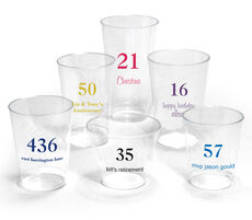 Design Your Own Big Number Clear Plastic Cups