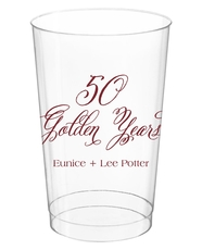 Elegant 50 Golden Years Clear Plastic Cups