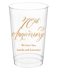 Elegant 70th Anniversary Clear Plastic Cups