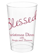 Expressive Script Blessed Clear Plastic Cups