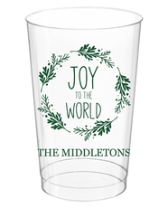 Joy to the World Wreath Clear Plastic Cups