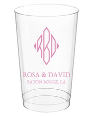 Shaped Diamond Monogram with Text Clear Plastic Cups