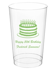 Sophisticated Birthday Cake Clear Plastic Cups