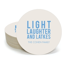 Light Laughter And Latkes Round Coasters