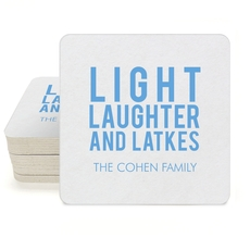 Light Laughter And Latkes Square Coasters