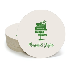 Aloha Welcome To Our Wedding Round Coasters