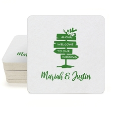 Aloha Welcome To Our Wedding Square Coasters