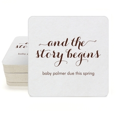 And the Story Begins Square Coasters