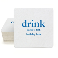 Big Word Drink Square Coasters