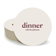 Big Word Dinner Round Coasters