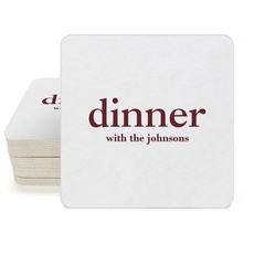 Big Word Dinner Square Coasters