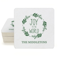 Joy to the World Wreath Square Coasters