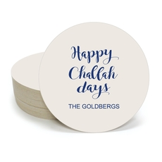 Happy Challah Days Round Coasters