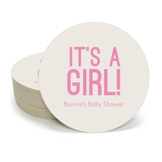 Bold It's A Girl Round Coasters