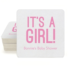 Bold It's A Girl Square Coasters