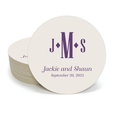 Condensed Monogram with Text Round Coasters
