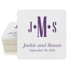 Condensed Monogram with Text Square Coasters